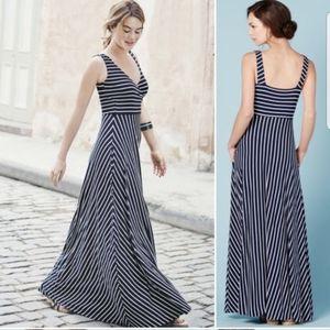 Boden Maxi Dress Pockets Navy White Striped Sz 2